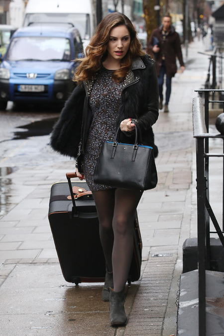 Kelly Brook - Anya Hindmarch handbag - rainy day - all black and grey outfit - handbag.com