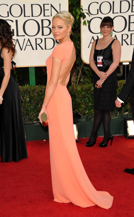 Emma Stone in Calvin Klein dress at the Golden Globe Awards 2011