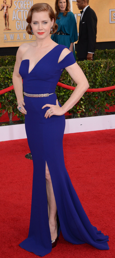 amy adams in purple blue dress - sag awards 2014 - celebrity fashion trends - handbag.com