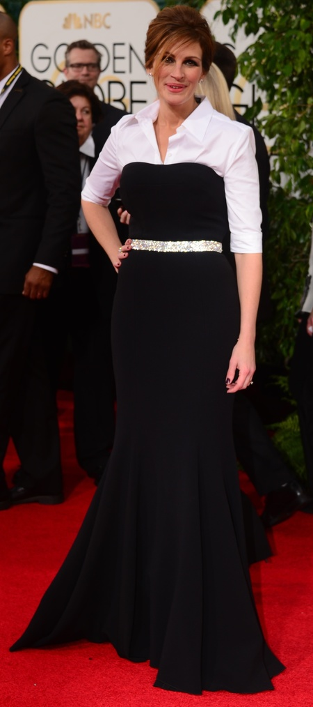 julia roberts in black dress and white shirt at Golden Globes 2014 - tux trend - celebrity awrds season dresses - handbag.com