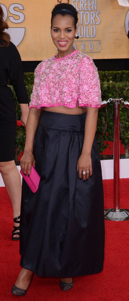 Kerry Washington's fluffy pink cropped jumper
