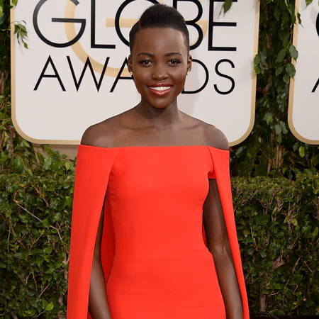 12 years a slave actress Lupita Nyongo red dress at golden globes 2014 - red dress trend - celebrity awards season dresses - handbag.com