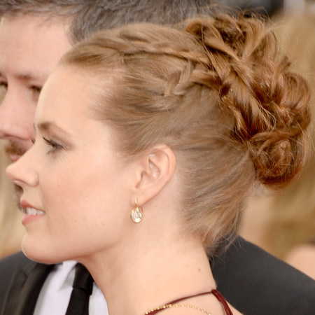 Amy Adams 90s style plaited updo