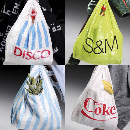 ashish marks and spencer carrier bag - tesco carrier bag - sequin handbags - quirky designer bags for sprong summer 2014 - handbag.com