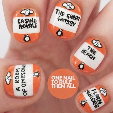 feel good nail art - unique nail art designs - make you smile - one nail to rule them all - penguin books - handbag.com