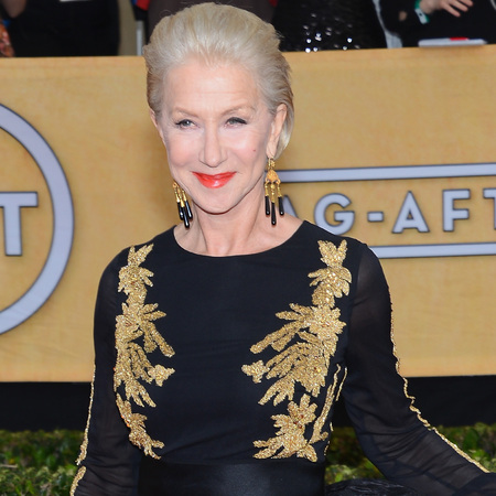 helen mirren black and gold dress - sag awards 2014 - celebrity fashion trends - handbag.com