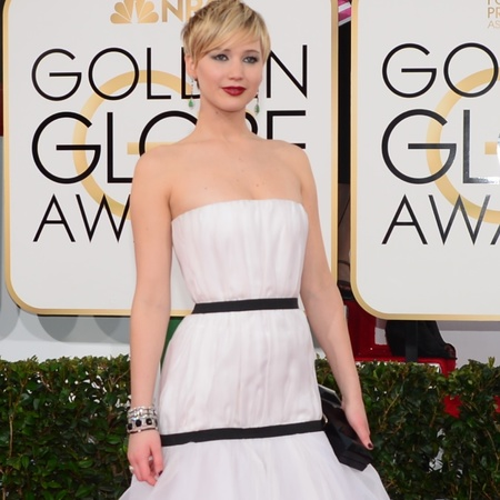 jennifer lawrence white dior dress at golden globes 2014 - celebrity awards season dresses - handbag.com