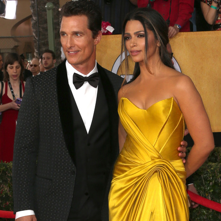 matthew mcconaughy and camila alves - yellow dress - sag awards 2014 - celebrity fashion trends - handbag.com