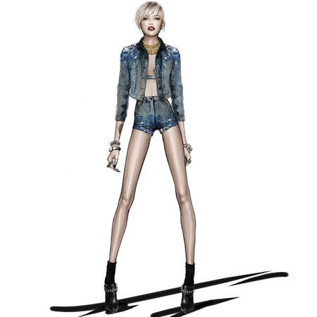Miley Cyrus Roberto Cavalli-The Bangerz World Tour - denim shorts and gilet - handbag.com