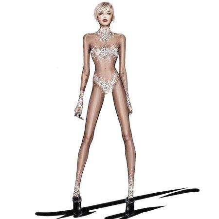 Miley Cyrus Roberto-Cavalli-The Bangerz World Tour - sheer bodysuit catsuit - handbag.com