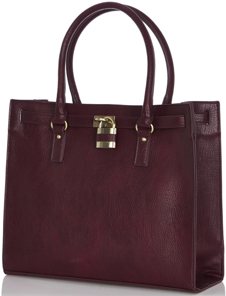 warehouse purple burgundy padlock handbag - bags for work - high street handbags - handbag.com