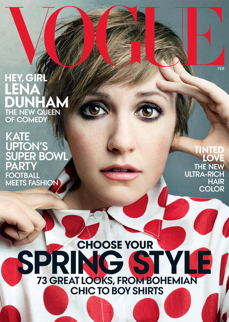 lena dunham us vogue cover - february issue 2014 - handbag.com