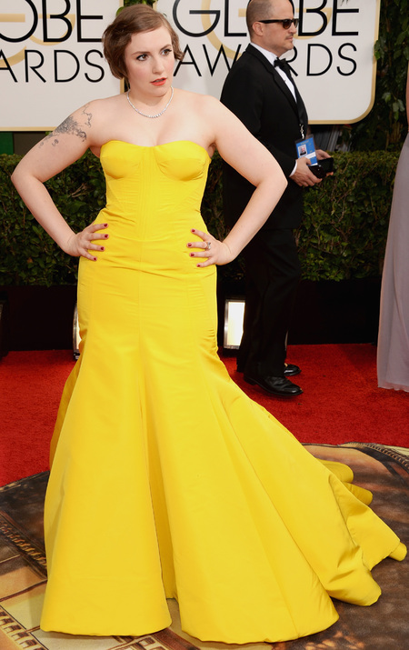 lena dunham yellow dress at golden globes 2014 - celebrity awards season dresses -yellow dress trend - handbag.com