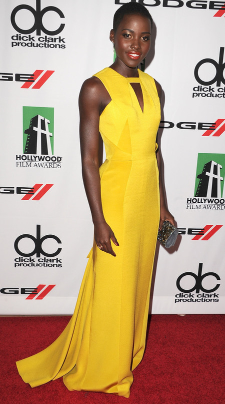 Lupita Nyong'o in yellow J. Mendel dress