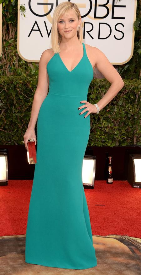 reese witherspoon emerald green dress at golden globes 2014 - celebrity awards season dresses - handbag.com
