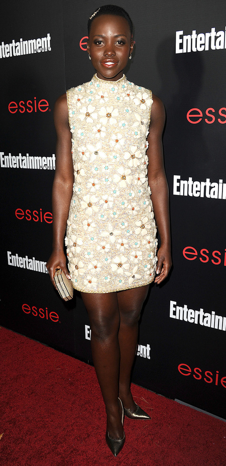 Lupita Nyong'o in 3D floral dress at Entertainment Weekly's SAG Awards pre-party