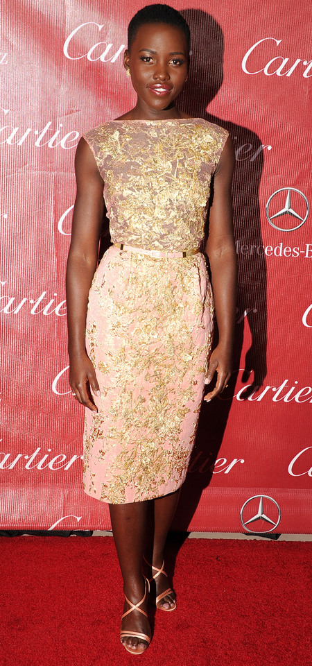 Lupita Nyong'o in rose gold Elie Saab dress