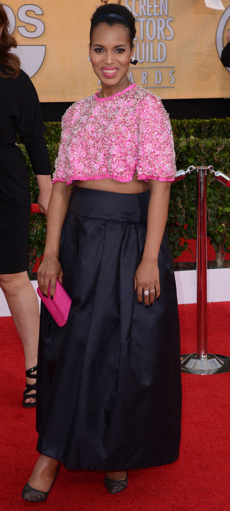 kerry washington pink crop top and black skirt - sag awards 2014 - celebrity fashion trends - handbag.com