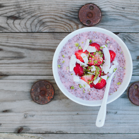 Chia seed and almond milk porridge with strawberries - 5 ways to pimp your porridge oats - food feature - handbag.com