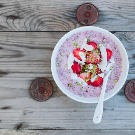 Chia seed and almond milk porridge with strawberries - 5 ways to pimp your porridge oats - food feature - handbag.com