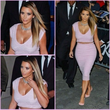 kim kardashian customised pink dior dress - jimmy kimmel interview january 2014 - celebrity pink fashion trend - handbag.com