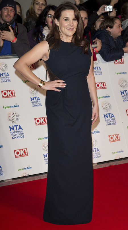 x factor sam bailey - navy blue dress - national television awards 2014 - handbag.com
