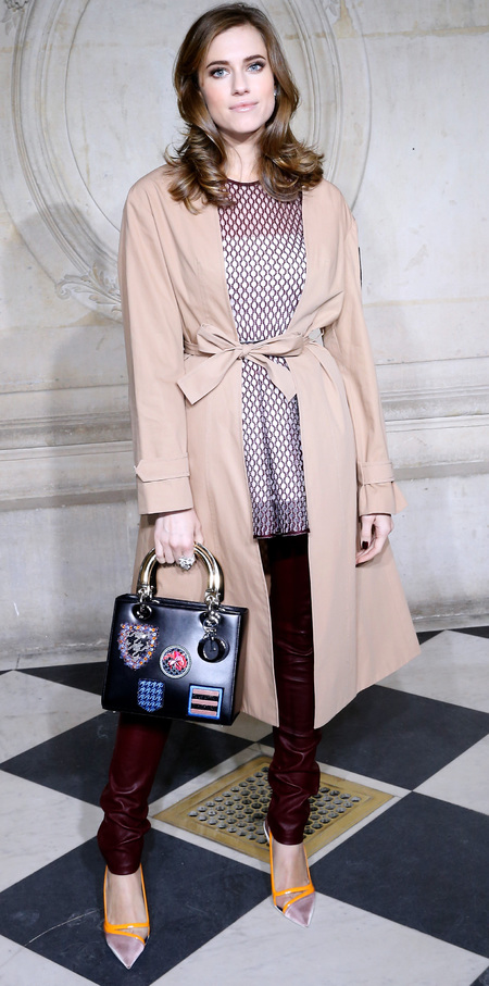allison williams with lady dior handbag - badges and patches on handbag - dior paris couture fashion week 2014 - handbag.com