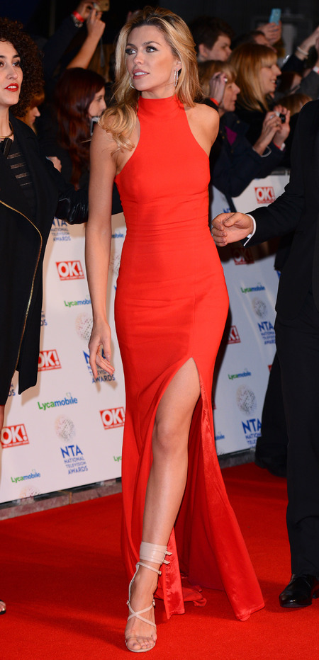 abbey clancy - sexy red dress - national television awards 2014 - handbag.com