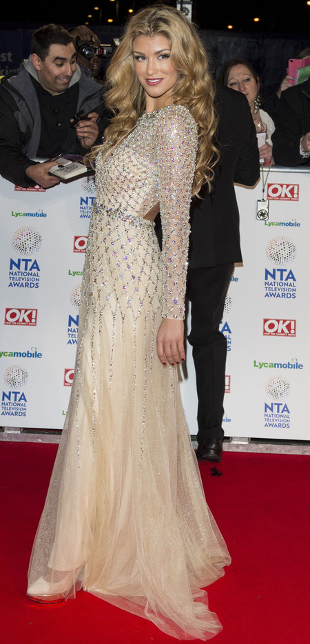 amy willerton - white lace princess dress - national television awards 2014 - handbag.com