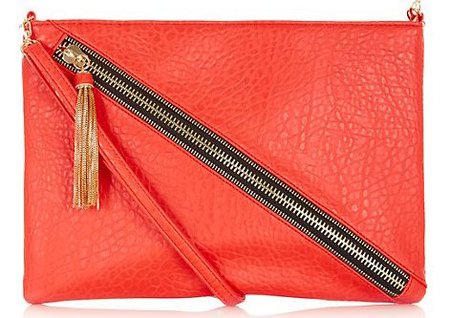 new handbag from high street - new look - red zip detail clutch bag - handbag.com