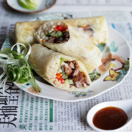 Ching He Huang's hoisin duck and rice spring roll recipe
