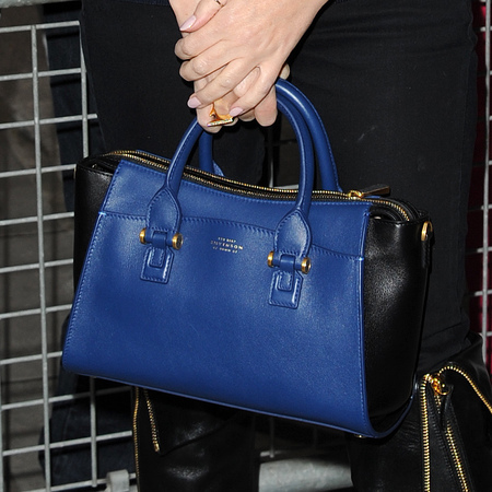 Kylie Minogue - smythson blue and black handbag - radio one - the voice style - zipped boots - handbag.com