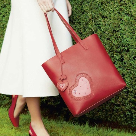radley handbag for british heart foundation - red leather handbag - heart print bag - handbag.com