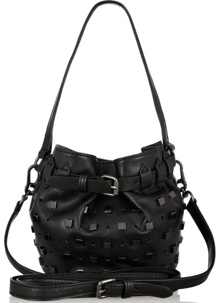 karl lagerfeld black leather studded duffle bucket bag - handbag trends spring sumemr 2014 - handbag.com