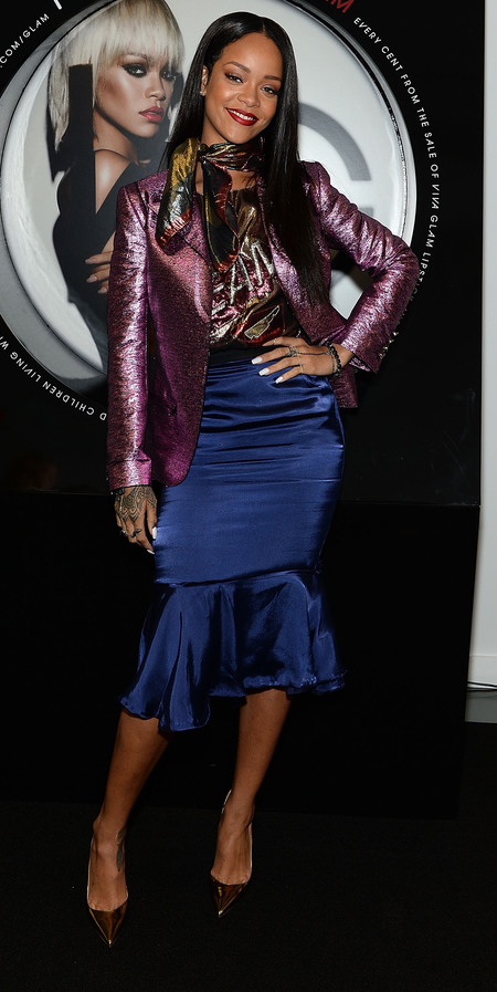 Rihanna wearing metallic Lanvin