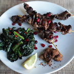 Spicy duck skewers with kale stir fry recipe