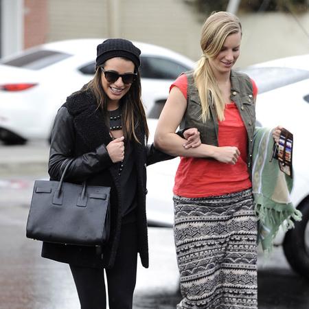 Lea Michele and Heather morris - glee - birkin bag - happy - handbag.com