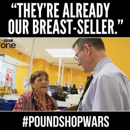 pound shop wars - bra - puns - bbc - handbag.com