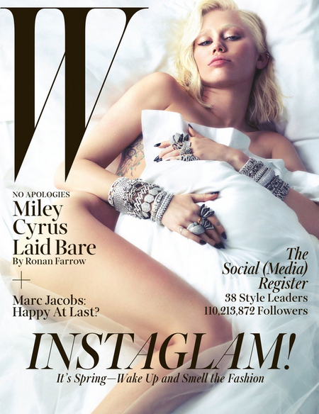 miley cyrus - w cover - naked - why she hates bra and pants - handbag.com