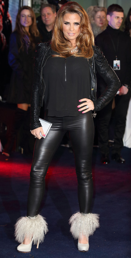 katie price white fluffy shoes - black leather trouser leggings - robocop film premiere - handbag.com