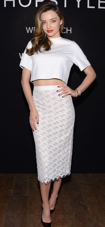 Miranda Kerr's white skirt and crop top