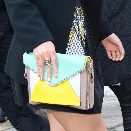 best handbags on new york fashion week front row - autumn fall 2014 - anna sophia robb yellow clutch bag - handbag.com