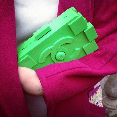 green chanel lego clutch bag - london fashion week street style - handbagspy - handbag.com