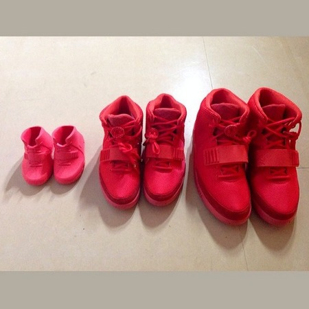 Kim Kardashian, Kanye West and Nori do matching trainers - Nike Air Yeezy 2 red octobers - Kim Kardashian Instagram - celebrity fashion news - handbag.com