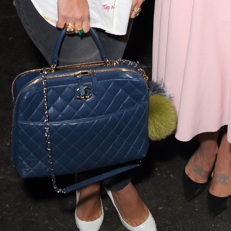 lily allen and kelly osbourne at london fashion week- front row and house of holland show - blue quilted leather chanel handbag - handbag.com