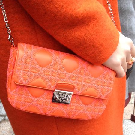 orange tweed dior shoulder bag - london fashion week street style - handbagspy copy - handbag.com
