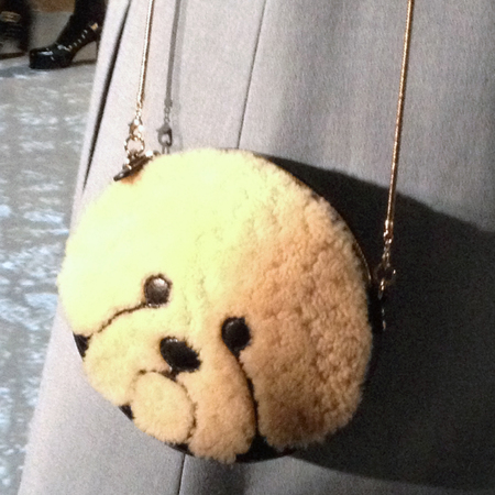 Orla Kiely's fluffy dog face bag