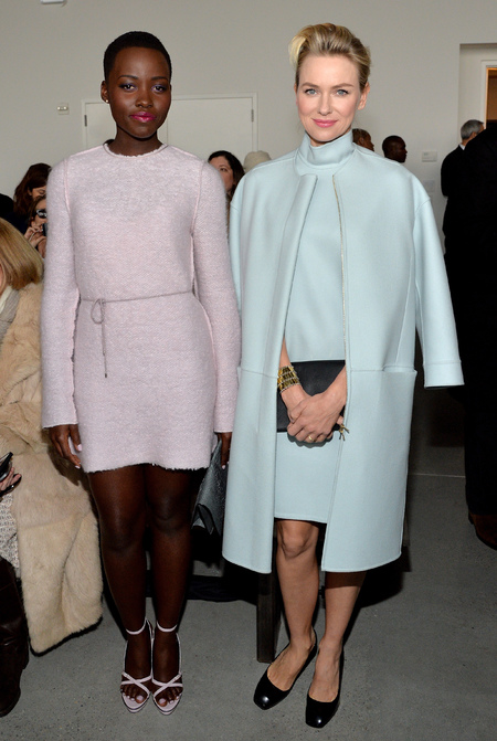 Lupita Nyong'o and Naomi Watts pastel colour blocking - New York Fashion Week - Calvin Klein show - handbagcom