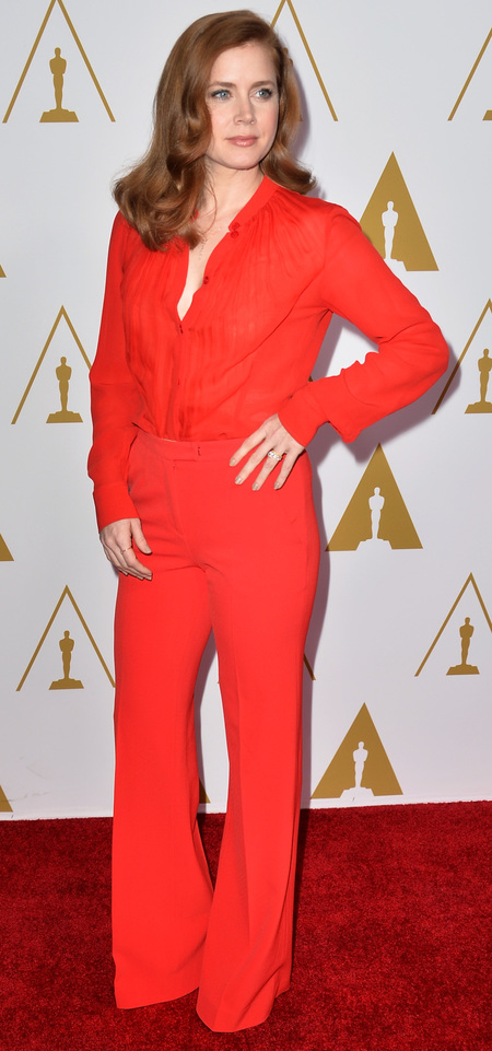 amy adams red shirt and trousers - oscar nominees luncheon -celebrity fashion - handbag.com