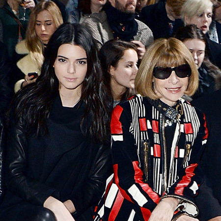 Kendall Jenner sits next to Anna Wintour at London Fashion Week - Vogue cover - Kim Kardashian - fashion news-  handbag.com
